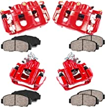 CCK02914 FRONT + REAR [4] Performance Grade Loaded Powder Coated Red Calipers + [8] Ceramic Brake Pads Kit