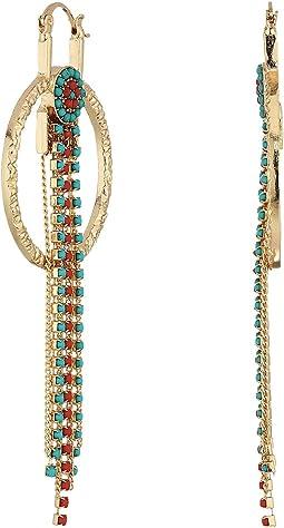 Ring Bead Chain Fringe Dangle Earrings