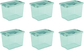 Sterilite 15057Y06 25 Qt, 24L Fresh Scent Box, Aqua Tent base with Aqua Chrome Lid & Teal Splash Latches, 6-Pack