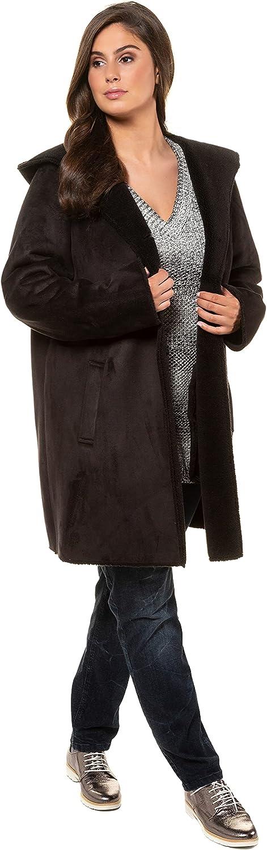 Ulla Popken Womenswear Plus Size Curvy Oversize Leather Look Fur Lined Coat 718535