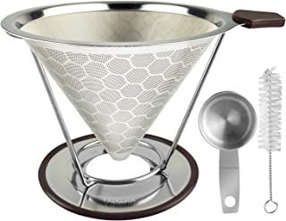 Stainless Steel Reusable Coffee Filter Pour Over Coffee Cone Dripper Permanent Honeycombed Mesh Basket 4 Cups Bonus Removable Cup Stand and Brush By Valerie