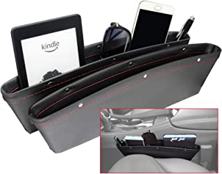 HomTrip Car Seat Gap Organizer, Universal Console Side Filler, Premium PU Full Leather Pockets, Storage Phone Money Cards Keys Remote, 2 Pack