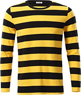 Mens Basic Striped Long Sleeve Casual Cotton T-Shirt