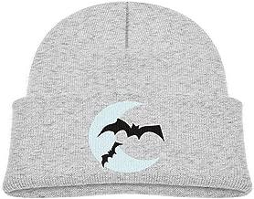 ABY14-YJ Kid's Knit Beanie Hat Bat Moon Halloween Cuffed Cotton Soft Fashion Skull Cap Gray