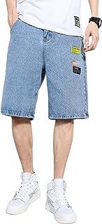 Pantalones Cortos de Mezclilla Rasgados para Hombre Pantalones Sueltos de Gran tamaño a Juego con Cinco Puntos Pantalones ...
