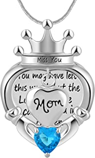 Eternally Women Religious Memorial Heart Crown Pendant Novelty Dad/Mom Cremation Necklace Keepsake