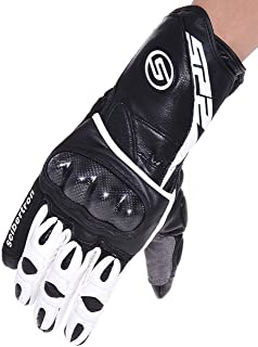 Seibertron SP2 SP-2 Men's Leather On-Road Motorcycle Gloves Genuine Leather Motocross Motobike Motorcycle Racing sports gloves (White, L)