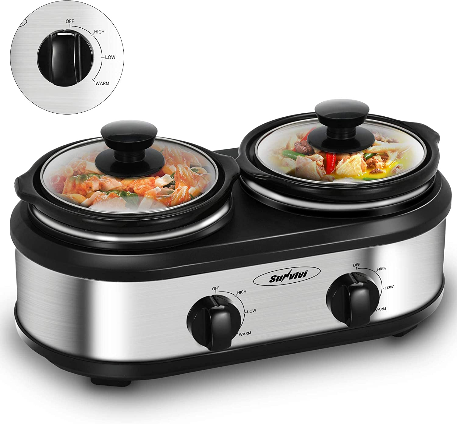 Dual 2 Pot Slow Cooker Buffet Server Electric Slow Cooker Food Warmer, Adjustable Temp Dishwasher Safe Removable Ceramic Pot Glass Lid, 2x1.25QT Portable Small Crock Cooker Stainless Steel Slow Cooker
