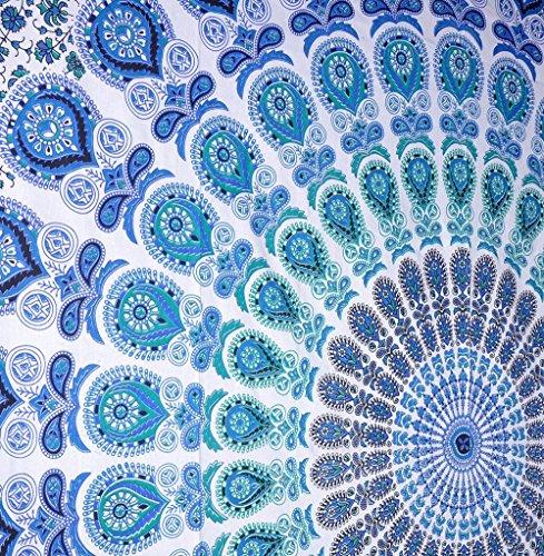 Craftozone Multi-Colored Mandala Tapestry Indian Wall Hanging, Bedsheet (White, 230x220 cms)