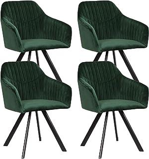 EUGAD Sillas Comedor Vintage Diseño Nórdico Juego de 4 Silla de Cocina Tapizada con Patas Metálicas Asiento de Terciopelo Verde