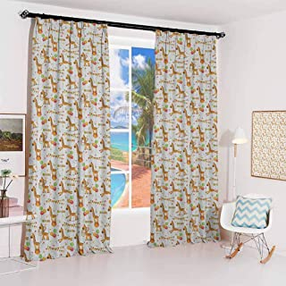 GUUVOR Giraffe Hook up Curtain Circus Pattern with Playful Cartoon Characters Colorful Flags Balloons Hula Hoops for Bedroom Kindergarten Living Room W72 x L96 Inch Multicolor