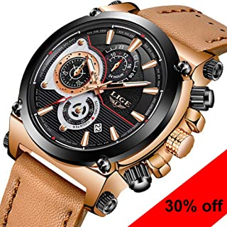 Watches for Men Fashion Waterproof Chronograph Casual Sport Quartz Watch Brown Leather Band Wristwatch Luxury Brand LIGE Large dial Date Watch