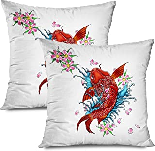 Ahawoso Set of 2 Throw Pillow Covers Square 20x20 Koifish Artwork Tattoo Design Japanese Carp Dragon Japan White Style Animals Wildlife Nature Myth Zippered Pillowcases Home Decor Cushion Cases