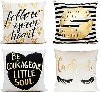 Decor MI Pillowcases Bronzing Flannel Throw Pillow Covers Gold Letter Lips Eyelash Pattern Square Pillow Cases Zipper Cushion Pillow Covers for Sofa Living Room Bedroom Home Decor,18x18 inch Set of 4