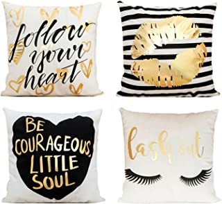 Decor MI Just Pillowcase Bronzing Flannel Throw Pillow Covers Gold Letter Lips Pattern Design with Zipper Home Decor for Sofa Slipcover Decorative 18x18 inch Set of 4