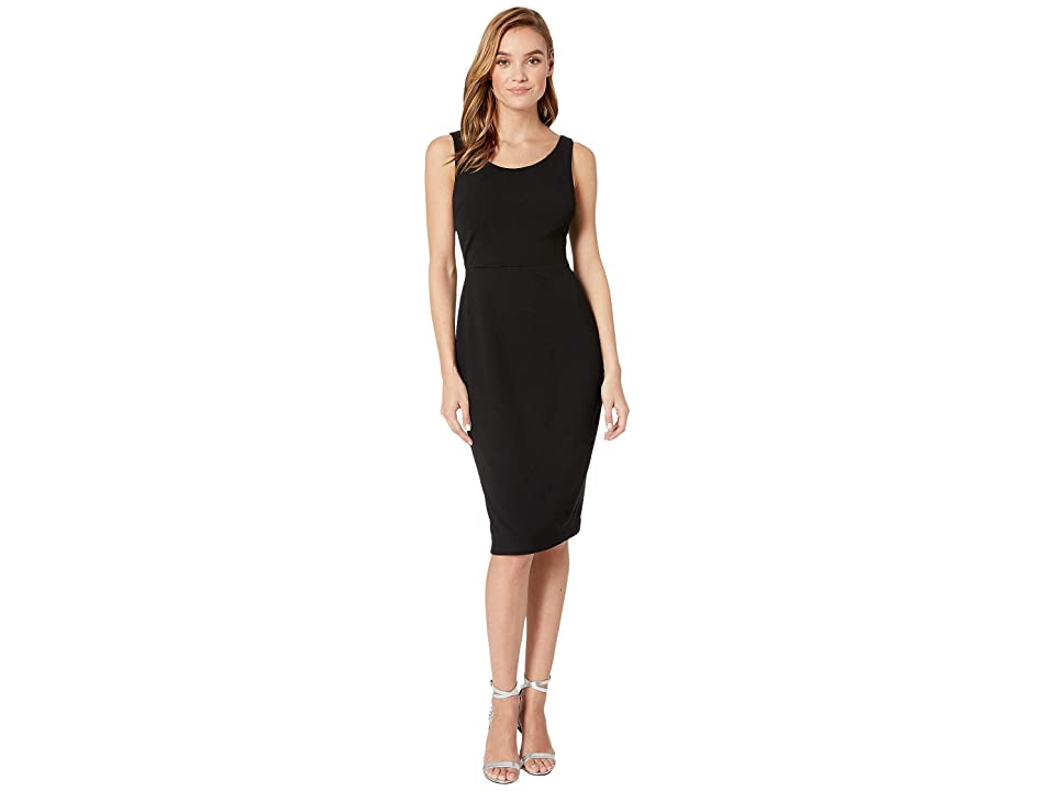 Betsey Johnson Scuba Crepe Midi Dress (Black) Women