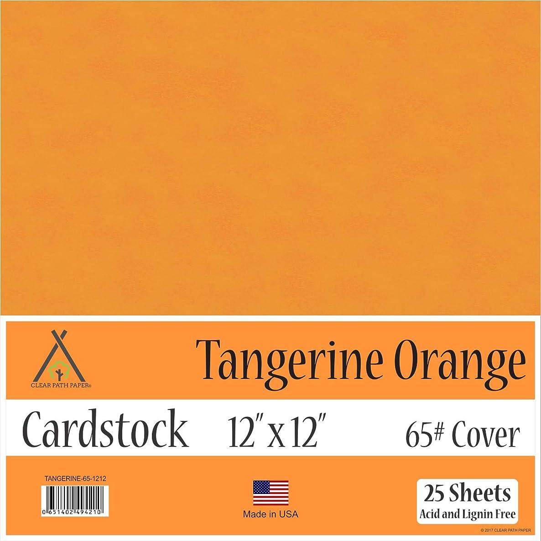 Tangerine Orange Cardstock - 12 x 12 inch - 65Lb Cover - 25 Sheets