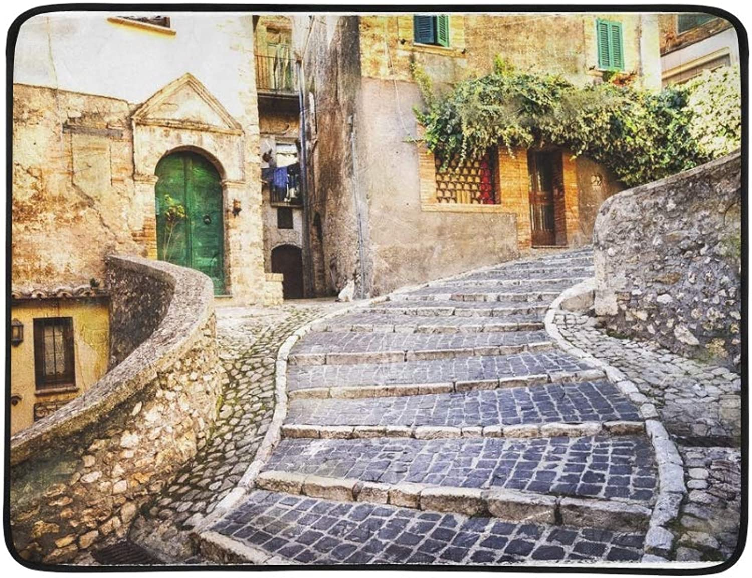 Pictorial Old Streets Italian Villages Artistic Portable and Foldable Blanket Mat 60x78 Inch Handy Mat for Camping Picnic Beach Indoor Outdoor Travel