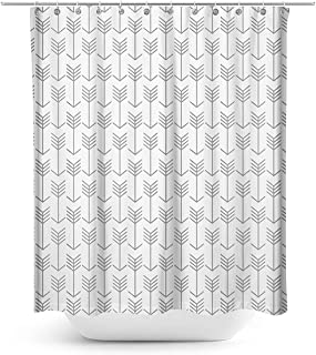 Cloud Dream Simple Modern Grey Arrow Shower Curtain,Waterproof Polyester Fabric Bath Curtain Design,54x78-Inch Small Stall Size,White