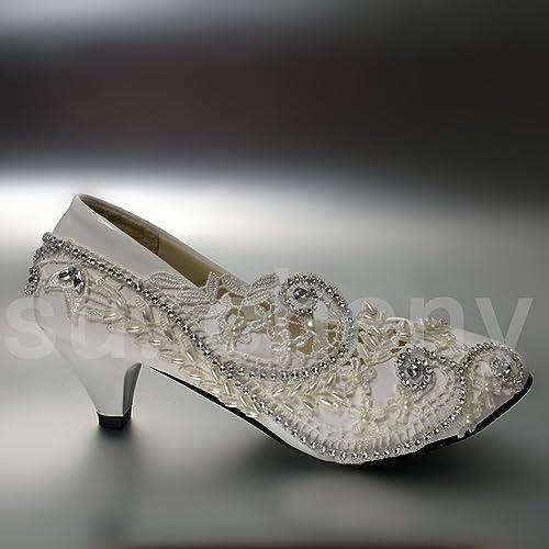 """JINGXINSTORE 5cm 2"""" Ferse Spitze Weiß Kristall Kristall Kristall Hochzeit Schuhe Braut Pumpen Größe US 5-12  rücksichtsvoller Service"""