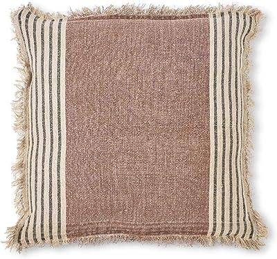 K&K Interiors 15984B 23 Inch Square Brown Tweed Linen Pillow with Cream & Black Stripe & Fringe