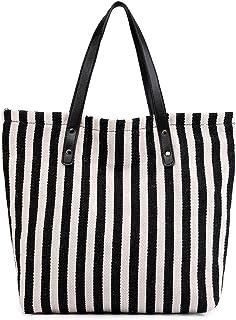 Women's Striped Canvas Shoulder Bags Top Handle Beach Handbag