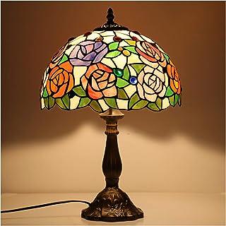 YEHEI Lámparas De Mesa Estilo Tiffany Lámpara Banker Hermosa Vidriera Luz De Noche Antigua para Sala De Estar Dormitorio Cafe Hotel, W12H18 Pulgadas