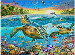 500 Pieces Jigsaw Puzzle for Adults Ocean World Sea Turtle Dolphins Wooden Jigsaw Puzzles Table Game Kids Family Toy DIY Gift