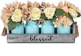 GBtroo Mason Jar Table Centerpieces for Dining Room - Coffee Table Decor Centerpiece with 4 Mason Jars and Flowers - Farmh...