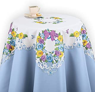 Collections Etc Spring Table Linens with Embroidered Floral Wreath, Square