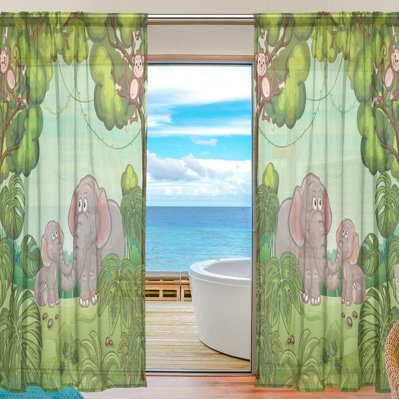 Vantaso Sheer Curtains 78 inch Long Forest Animals Elephant Monkey for Kids Girls Bedroom Living Room Window Decorative 2 Panels