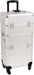 Sunrise Lucia 2-In-1 Rolling Makeup Case Professional Nail Travel Organizer Box, Silver Diamond, 24 Pound