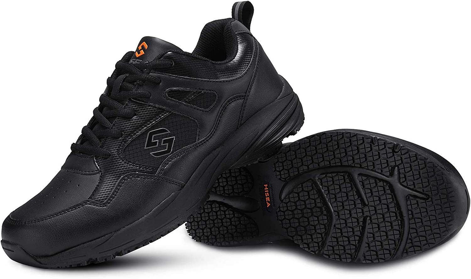 HISEA Non Slip Shoes for Men Work Shoes Lightweight Food Service Shoes Comfortable Chef Shoes Water Resistant