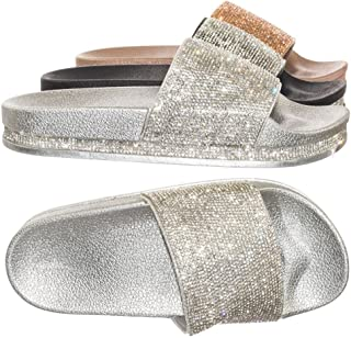 Forever Link Glitter Slide in PVC Molded Footbed Flatform Sandal Slippers