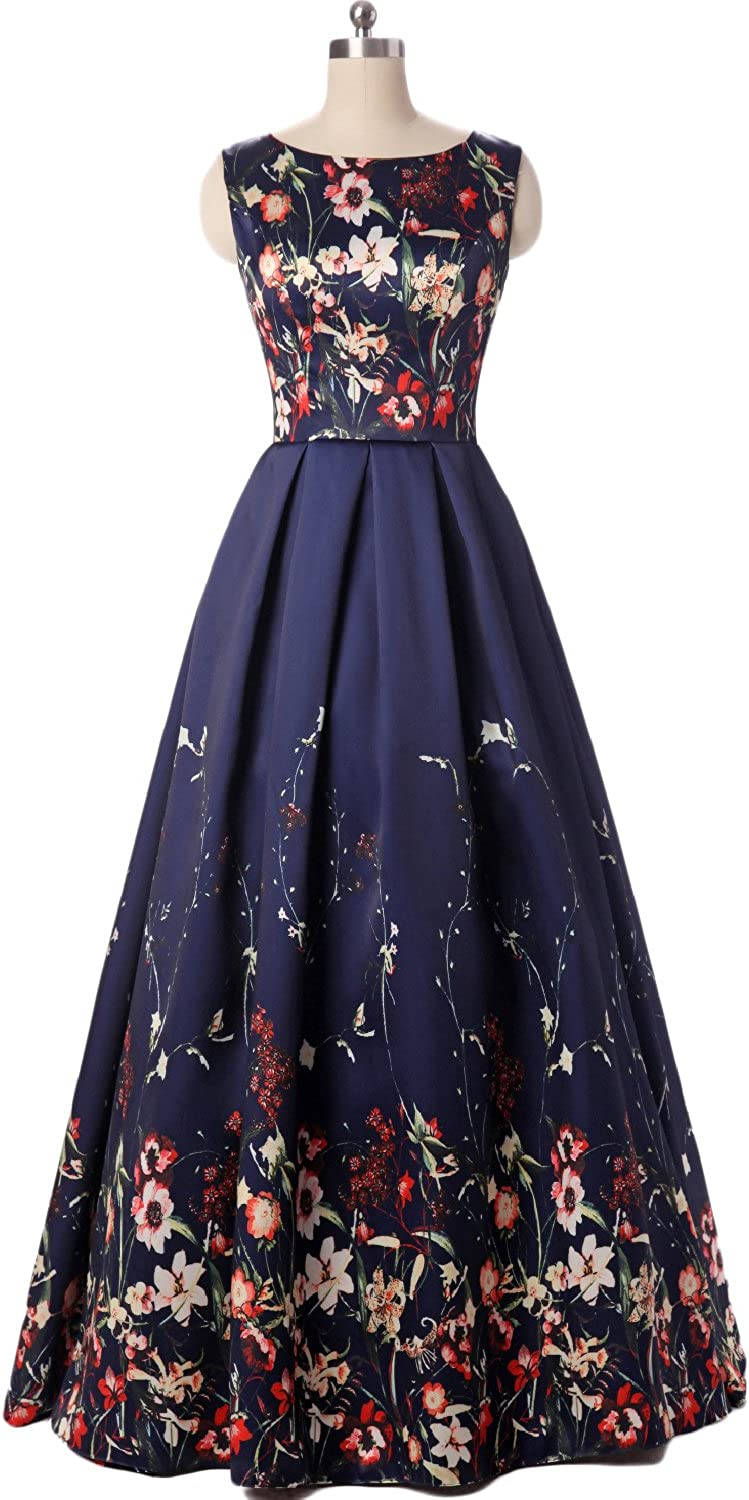 YSMei Womens Long Floral Print Evening Prom Dress A Line Party Ball Gown YFP27
