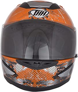 THH Helmets ABS Poly Carbonate Bull Full Face Helmet (Orange, Medium)