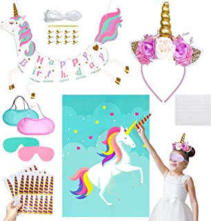 Unicorn Birthday Party Supplies for Girls – Unicorn Headband and Unicorn Birthday Banner with Pin The Horn on the Unicorn Party Game – Unicorn Party Decorations for Kids, Birthdays, Celebrations