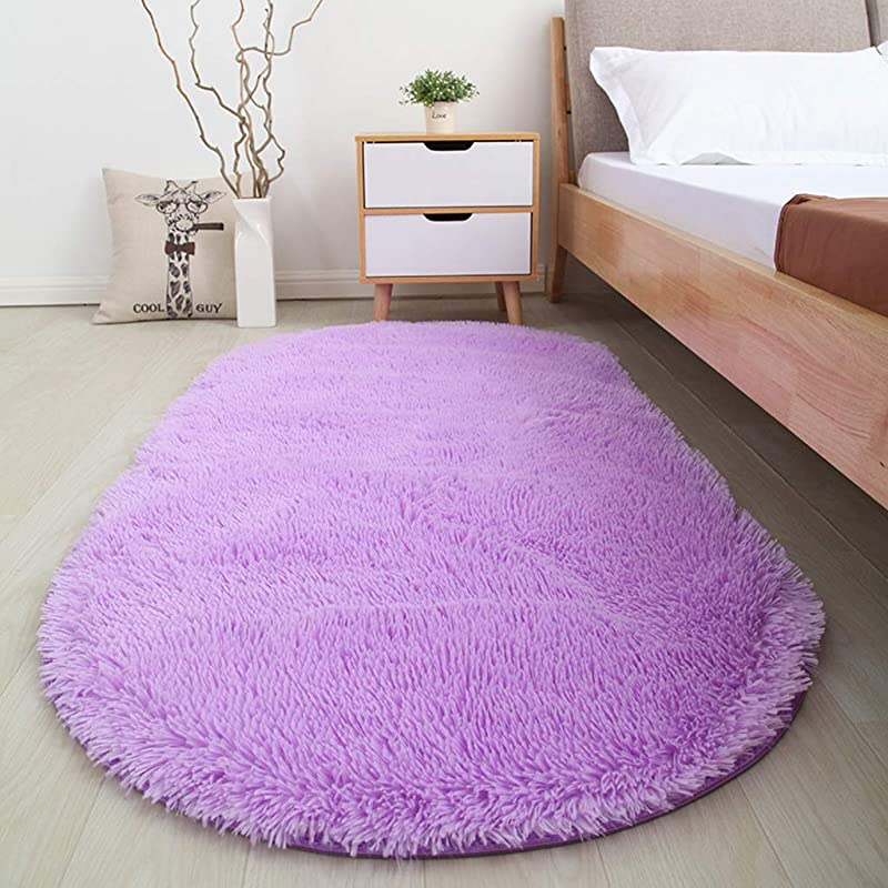 QYLOZ Cute Oval Carpet Bedroom Home Bedside Bed Front Carpet Living Room Coffee Table Tatami Carpet Color Purple Size 80CM 200CM