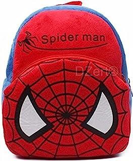 DZert Soft Plush Fabric Multicolour Spiderman Printed School Bag for Baby Boys and Girls