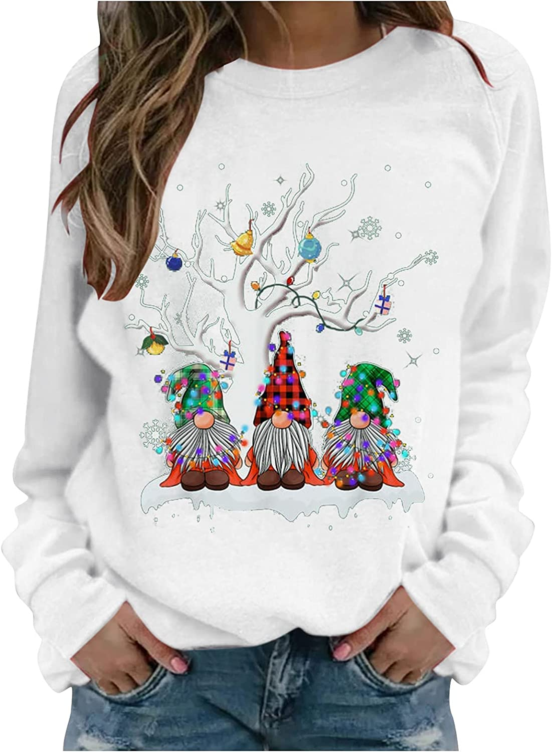Womens Christmas Sweatshirt Funny Christmas Tree Gnome Printed Long Sleeve Crewneck Casual Pullover Fall Clothes for Women