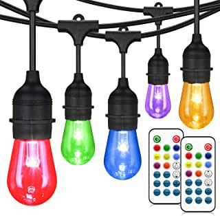 48FT Color Changing Outdoor String Lights, RGB Cafe LED String Lights with 16 S14 Shatterproof Edison Bulbs, Commercial Grade Dimmable String Lights for Patio Backyard Garden, 2 Remote Controllers