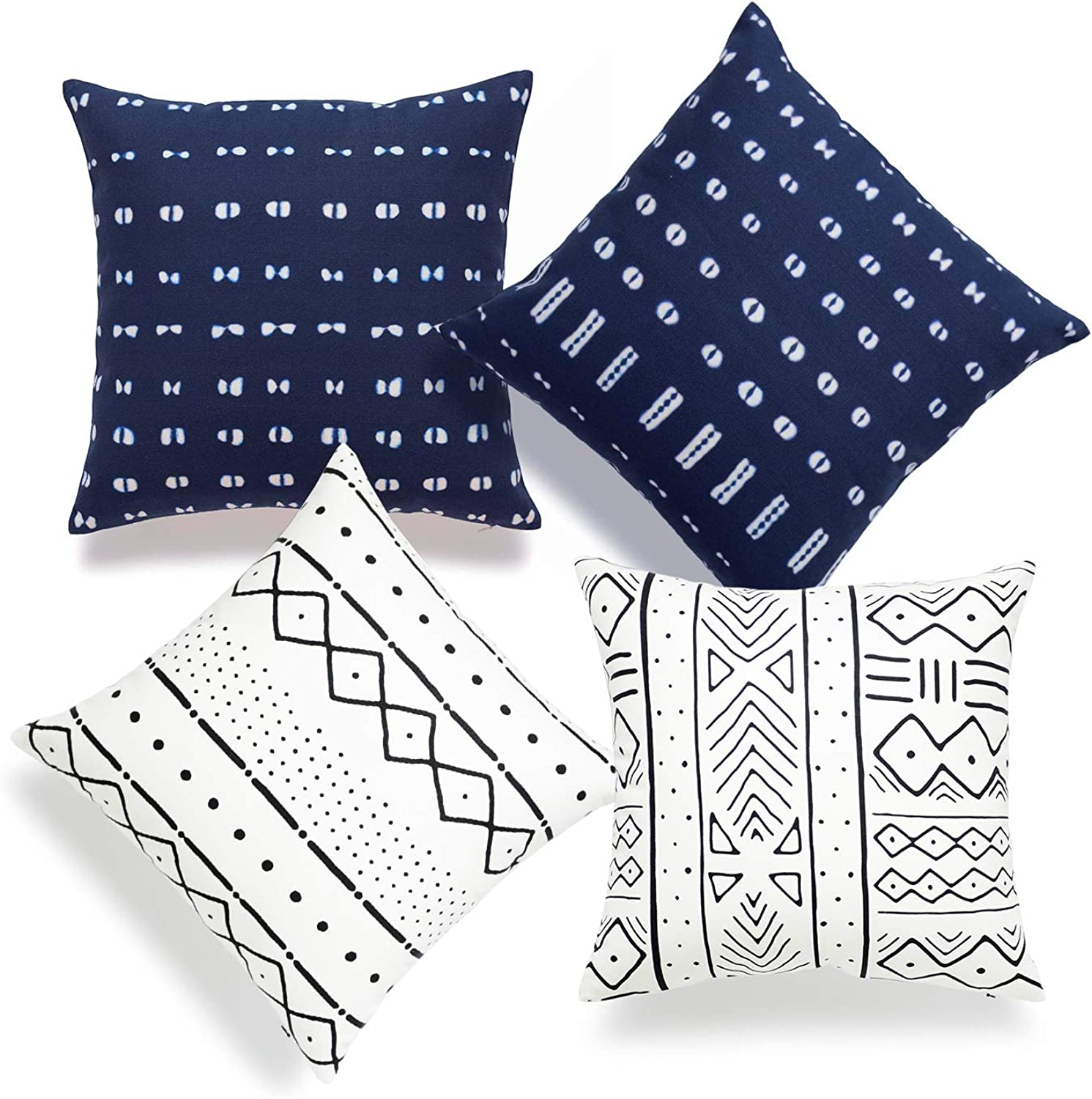 Hofdeco African Mudcloth Pillow Cover ONLY, Natural White, Indigo Shibori Inspired Print, 18 x18 , Set of 4