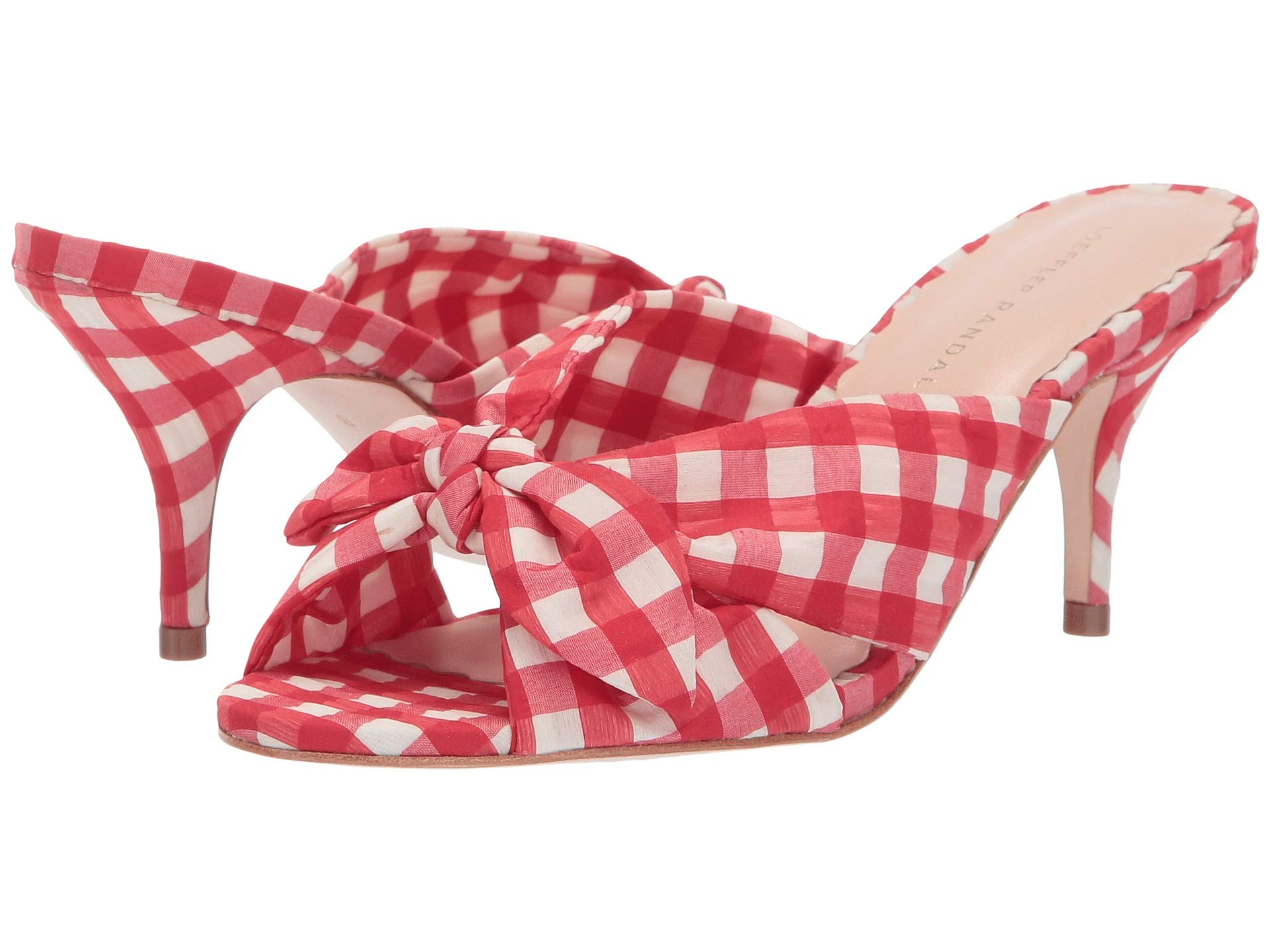 Red Gingham Heel Kitten Randall Knotted Fabric Loeffler Luisa BF4SS1