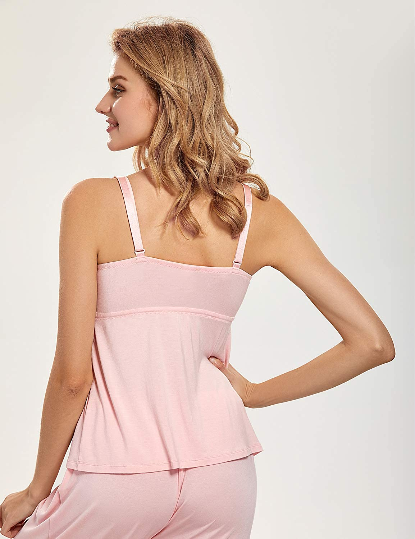 MOMANDA Womens Maternity Nursing Cami Pajamas Set Breastfeeding Sleepwear