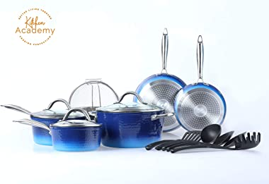 Kitchen Academy Pots and Pans Set, 15 Piece Complete Cookware Set with Tools