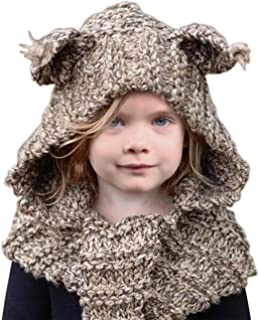 Winter Kids Warm Cat Animal Hats Knitted Coif Hood Scarf Beanies for Autumn Winter