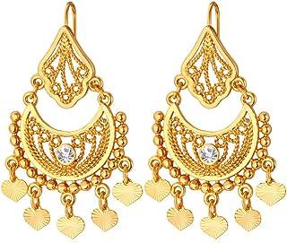 U7 18K Gold Half Moon & Tinkle Bell Love Classic Dangling Earrings