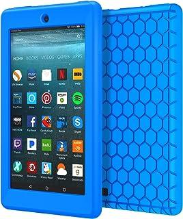 NEW-Fire 7 ケース - ATiC Fire 7 タブレット (Newモデル) 2017/第七世代用 軽量 ソフト シリコーン製保護ケース BLUE