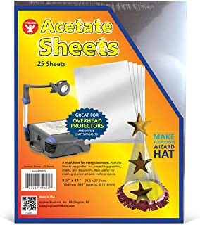 """Hygloss Products Transparency Film Acetate Sheets for Overhead Projectors, Arts & Craft Projects, 8.5"""" x 11"""""""