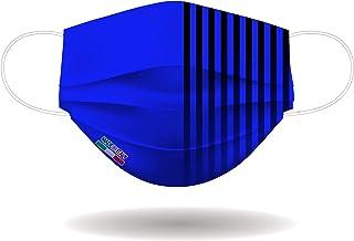 Mascherina per Viso con elastici, lavabile e sterilizzabile, Unisex, Made in Italy (NERO AZZURRO)